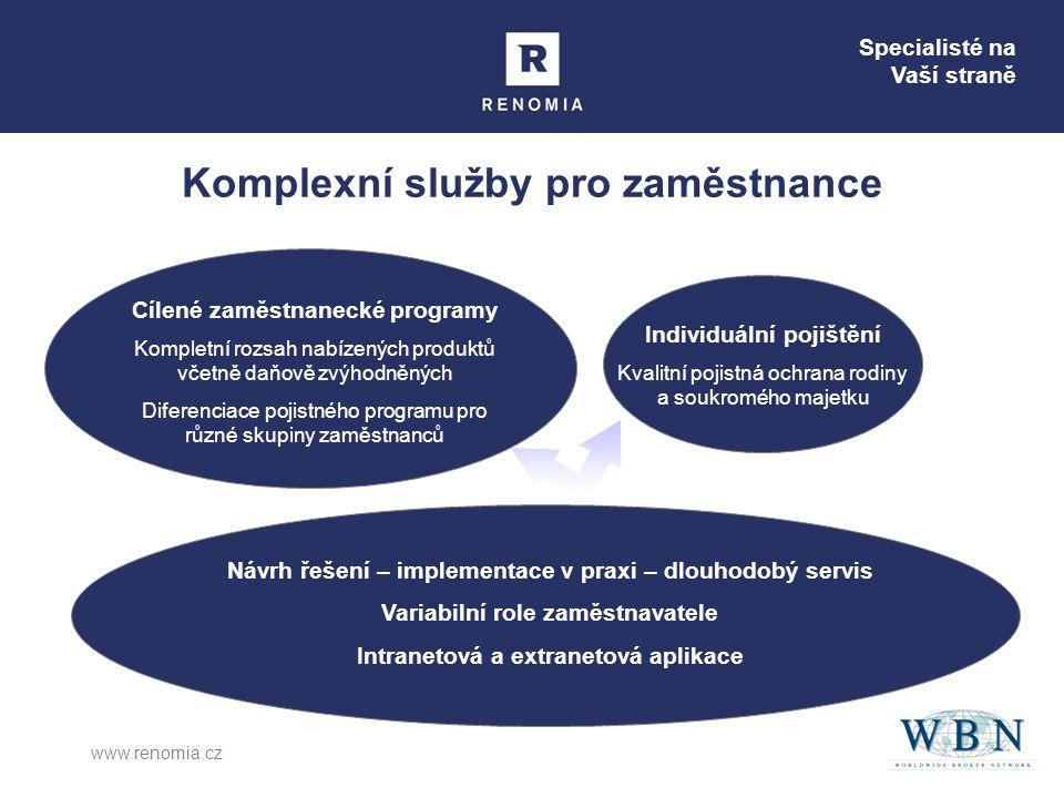 Specialisté na Vaší straně www.renomia.cz Komplexní služby pro zaměstnance Cílené zaměstnanecké programy Kompletní rozsah nabízených produktů včetně d