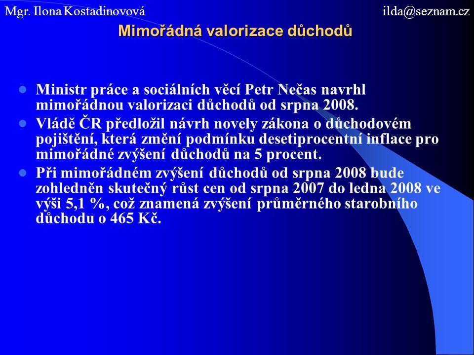 Mimořádná valorizace důchodů Ministr práce a sociálních věcí Petr Nečas navrhl mimořádnou valorizaci důchodů od srpna 2008. Vládě ČR předložil návrh n