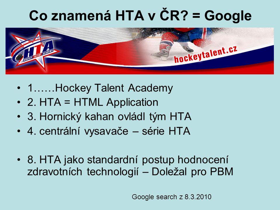 Co znamená HTA v ČR? = Google 1……Hockey Talent Academy 2. HTA = HTML Application 3. Hornický kahan ovládl tým HTA 4. centrální vysavače – série HTA 8.
