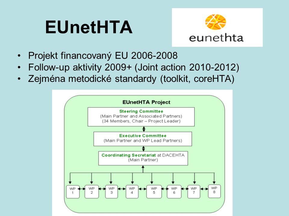 EUnetHTA Projekt financovaný EU 2006-2008 Follow-up aktivity 2009+ (Joint action 2010-2012) Zejména metodické standardy (toolkit, coreHTA)