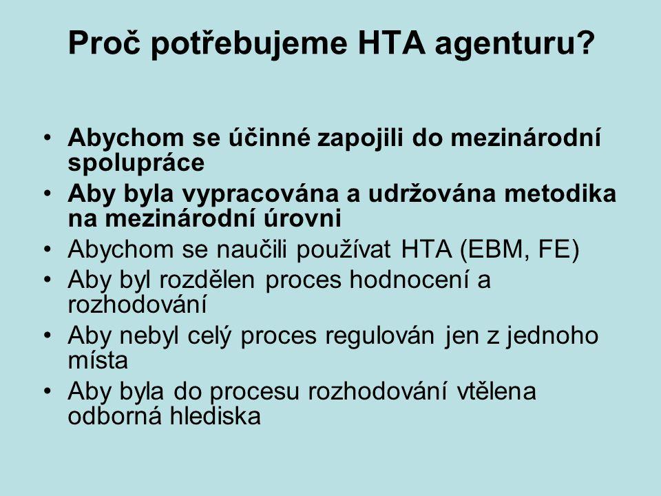 Proč potřebujeme HTA agenturu? Abychom se účinné zapojili do mezinárodní spolupráce Aby byla vypracována a udržována metodika na mezinárodní úrovni Ab