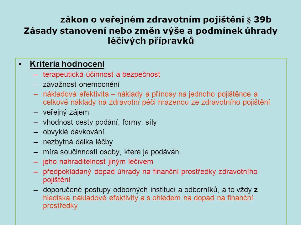 zákon o veřejném zdravotním pojištění § 39b Zásady stanovení nebo změn výše a podmínek úhrady léčivých přípravků Kriteria hodnocení –terapeutická účin