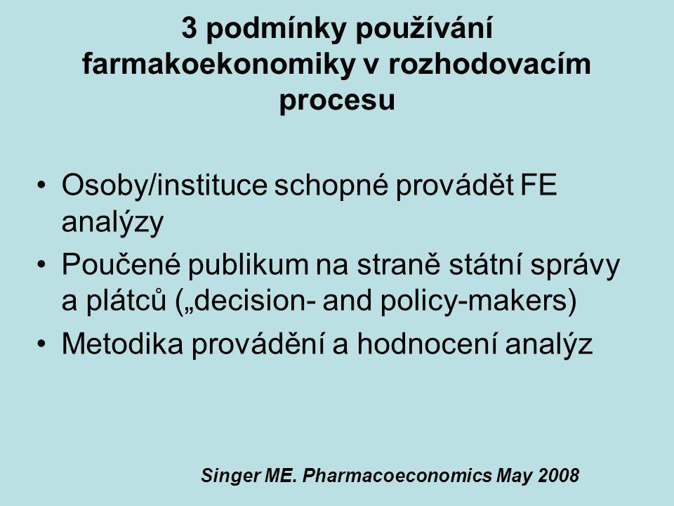 3 podmínky používání farmakoekonomiky v rozhodovacím procesu Osoby/instituce schopné provádět FE analýzy Poučené publikum na straně státní správy a pl