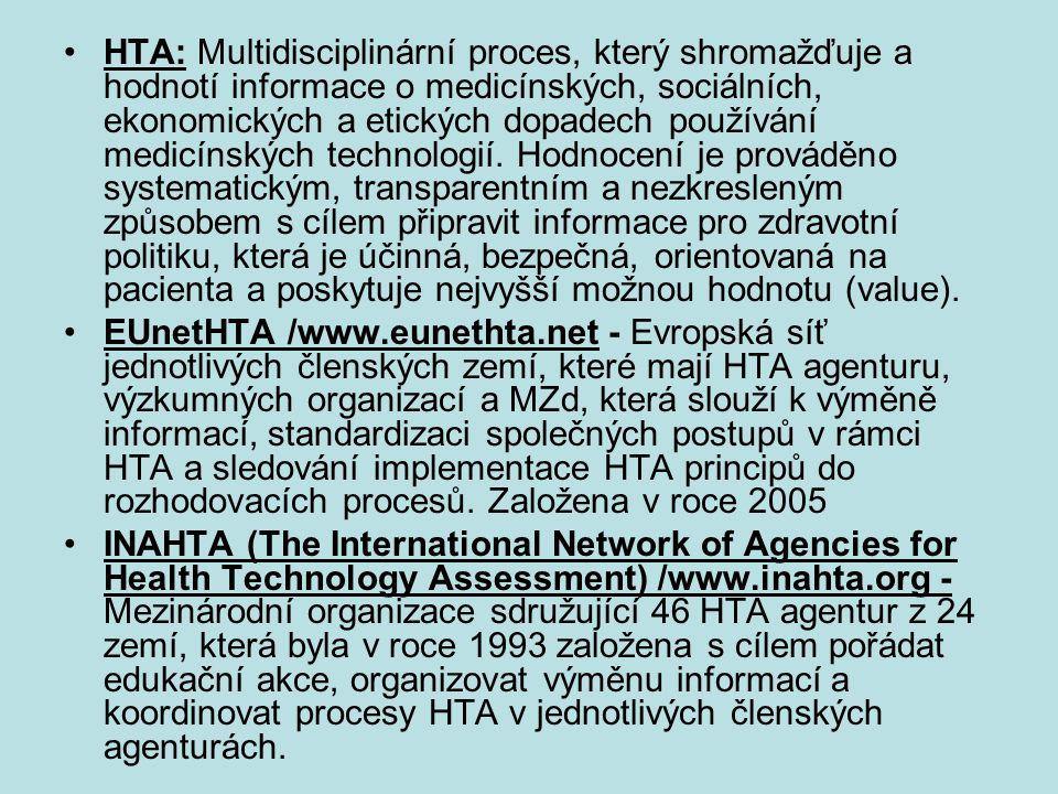 HTA: Multidisciplinární proces, který shromažďuje a hodnotí informace o medicínských, sociálních, ekonomických a etických dopadech používání medicínsk