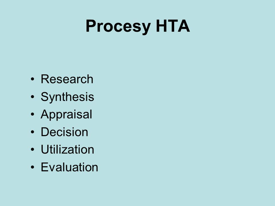 Procesy HTA Research Synthesis Appraisal Decision Utilization Evaluation