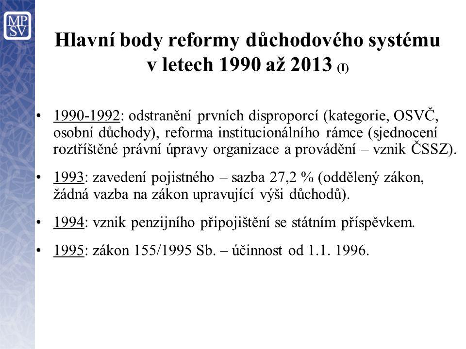 Hlavní body reformy důchodového systému v letech 1990 až 2013 (I) 1990-1992: odstranění prvních disproporcí (kategorie, OSVČ, osobní důchody), reforma