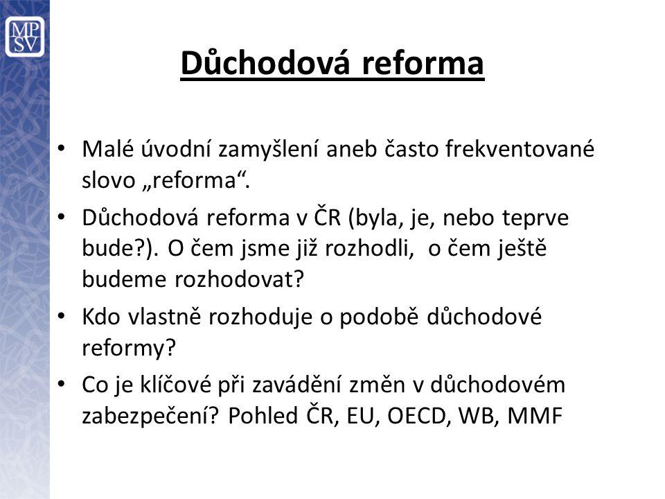 Co charakterizuje Důchodový systém v ČR – Státní, průběžně financovaný systém – V zásadě pro všechny povinný – Náhrada příjmu v případě stáří (starobní důchod), invalidity (tři stupně invalidity) a ztrátě živitele (vdovský, vdovecký a sirotčí důchod) – Institucionální kořeny – konec 19.