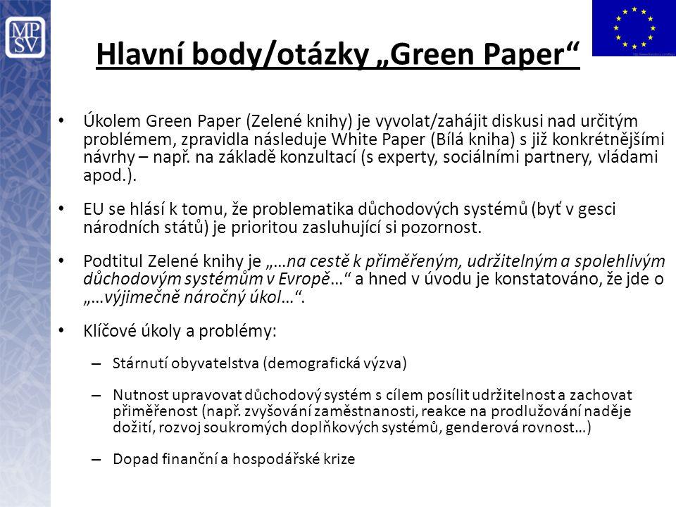 """Hlavní body/otázky """"Green Paper"""" Úkolem Green Paper (Zelené knihy) je vyvolat/zahájit diskusi nad určitým problémem, zpravidla následuje White Paper ("""