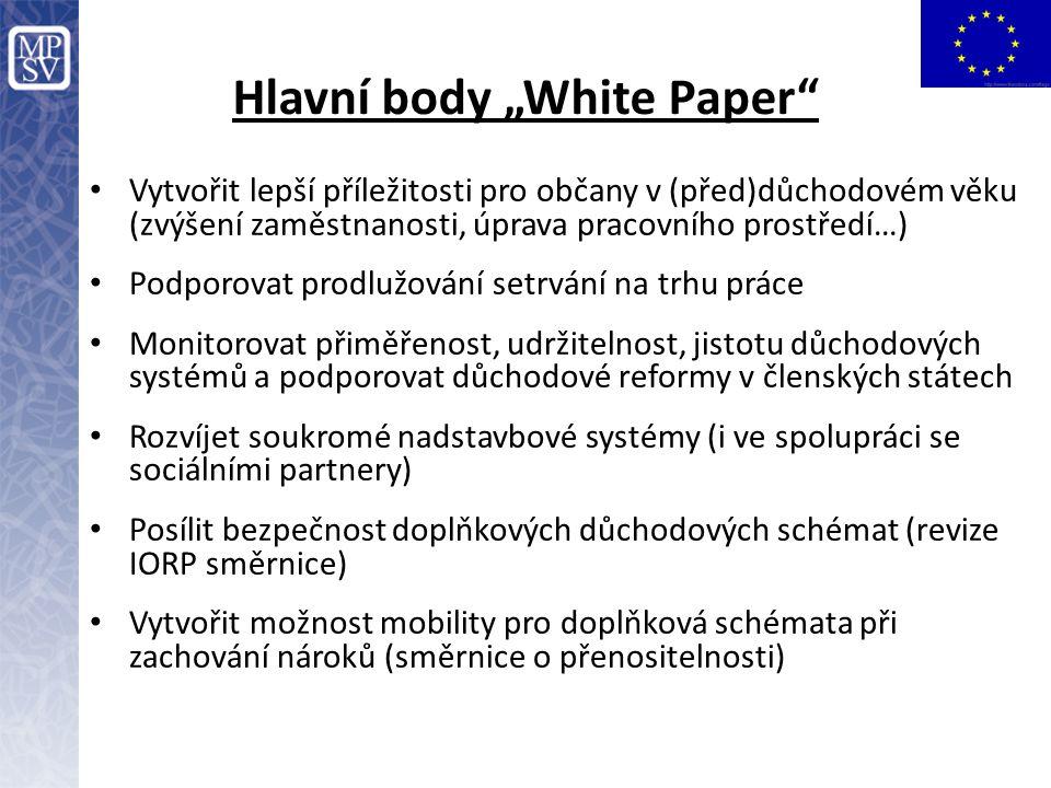 """Hlavní body """"White Paper"""" Vytvořit lepší příležitosti pro občany v (před)důchodovém věku (zvýšení zaměstnanosti, úprava pracovního prostředí…) Podporo"""