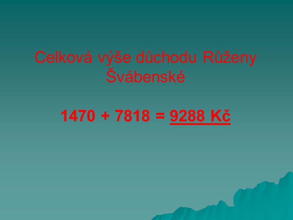 Celková výše důchodu Růženy Švábenské 1470 + 7818 = 9288 Kč