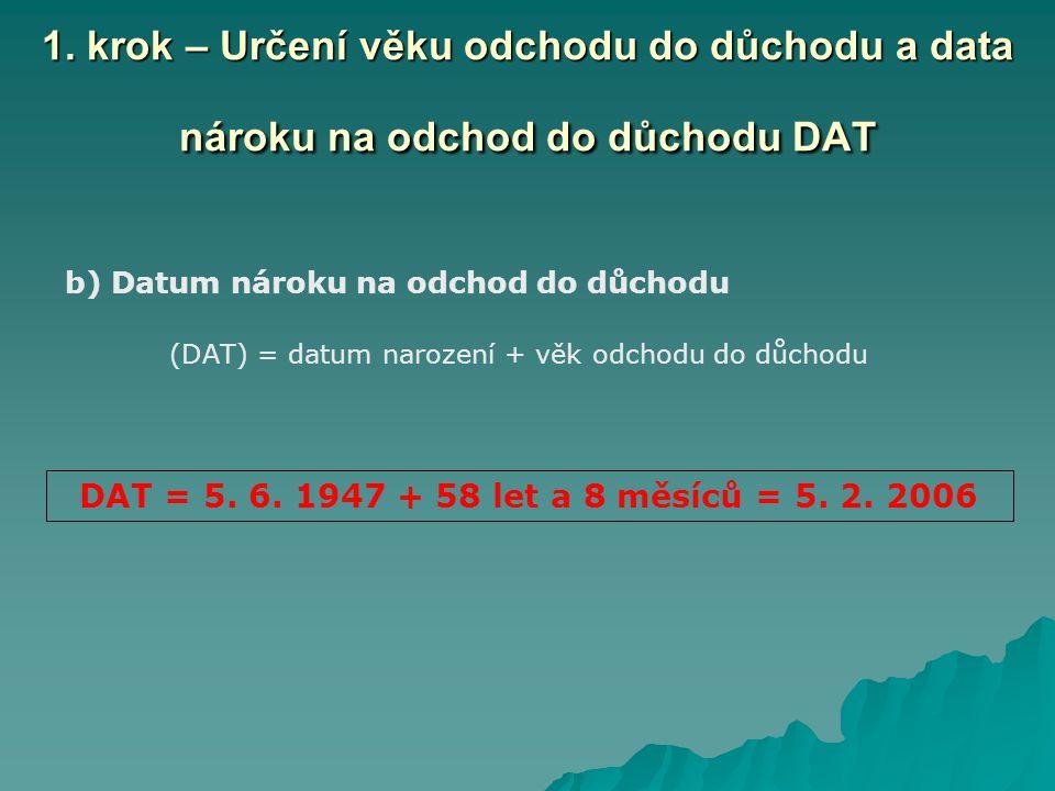 b) Datum nároku na odchod do důchodu (DAT) = datum narození + věk odchodu do důchodu 1.