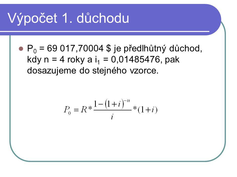 Výpočet 1. důchodu P 0 = 69 017,70004 $ je předlhůtný důchod, kdy n = 4 roky a i 1 = 0,01485476, pak dosazujeme do stejného vzorce.