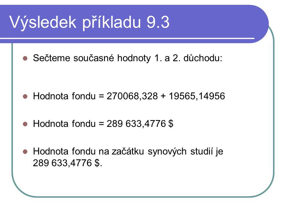 Výsledek příkladu 9.3 Sečteme současné hodnoty 1. a 2. důchodu: Hodnota fondu = 270068,328 + 19565,14956 Hodnota fondu = 289 633,4776 $ Hodnota fondu