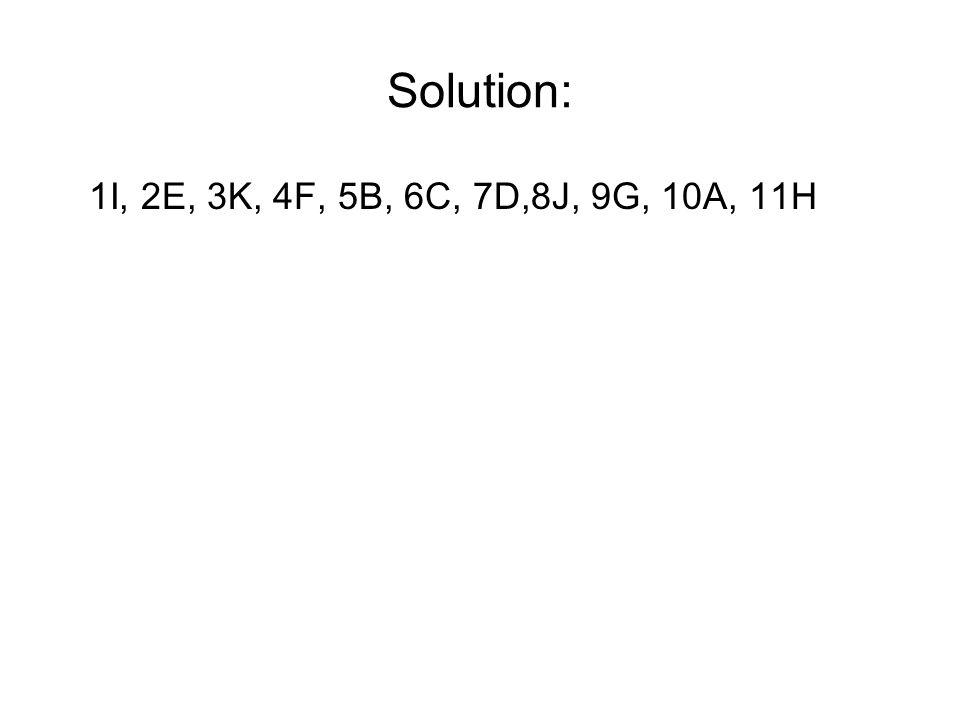 Solution: 1I, 2E, 3K, 4F, 5B, 6C, 7D,8J, 9G, 10A, 11H