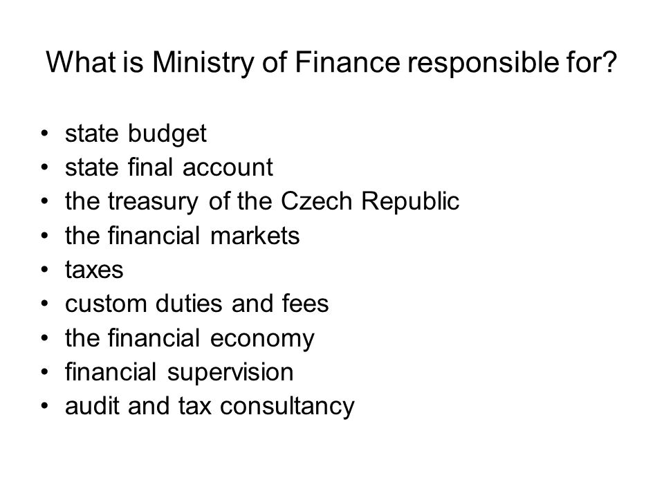 What is Ministry of Finance responsible for.