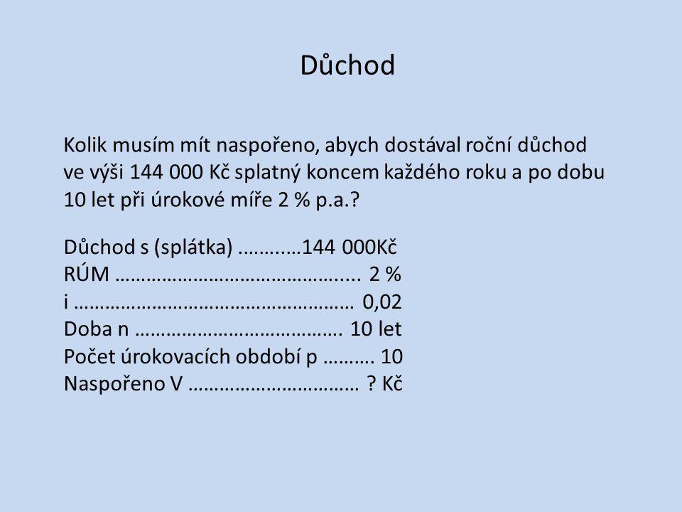 Důchod s (splátka).………..144 000 Kč i ……………………………………………...
