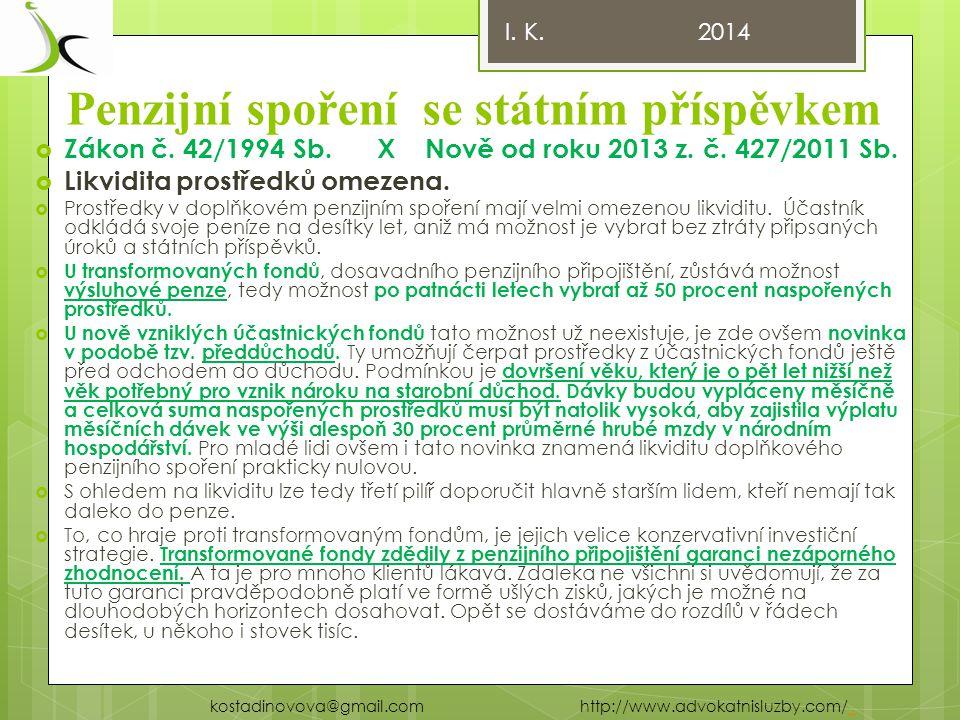 Penzijní spoření se státním příspěvkem  Zákon č.42/1994 Sb.