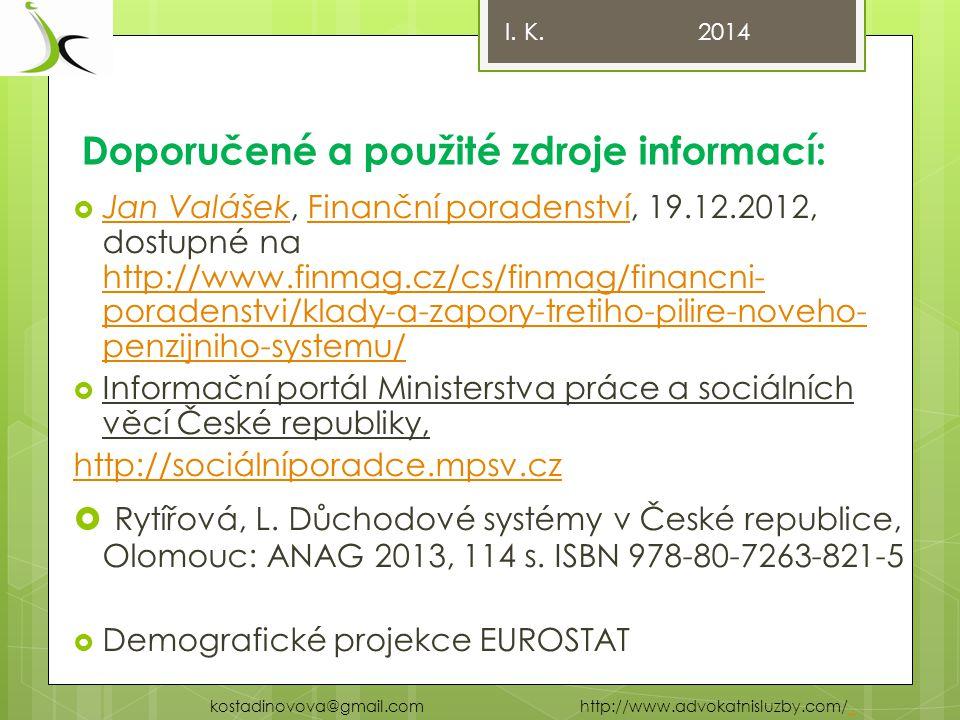 Doporučené a použité zdroje informací:  Jan Valášek, Finanční poradenství, 19.12.2012, dostupné na http://www.finmag.cz/cs/finmag/financni- poradenstvi/klady-a-zapory-tretiho-pilire-noveho- penzijniho-systemu/ Jan ValášekFinanční poradenství http://www.finmag.cz/cs/finmag/financni- poradenstvi/klady-a-zapory-tretiho-pilire-noveho- penzijniho-systemu/  Informační portál Ministerstva práce a sociálních věcí České republiky, http://sociálníporadce.mpsv.cz  Rytířová, L.