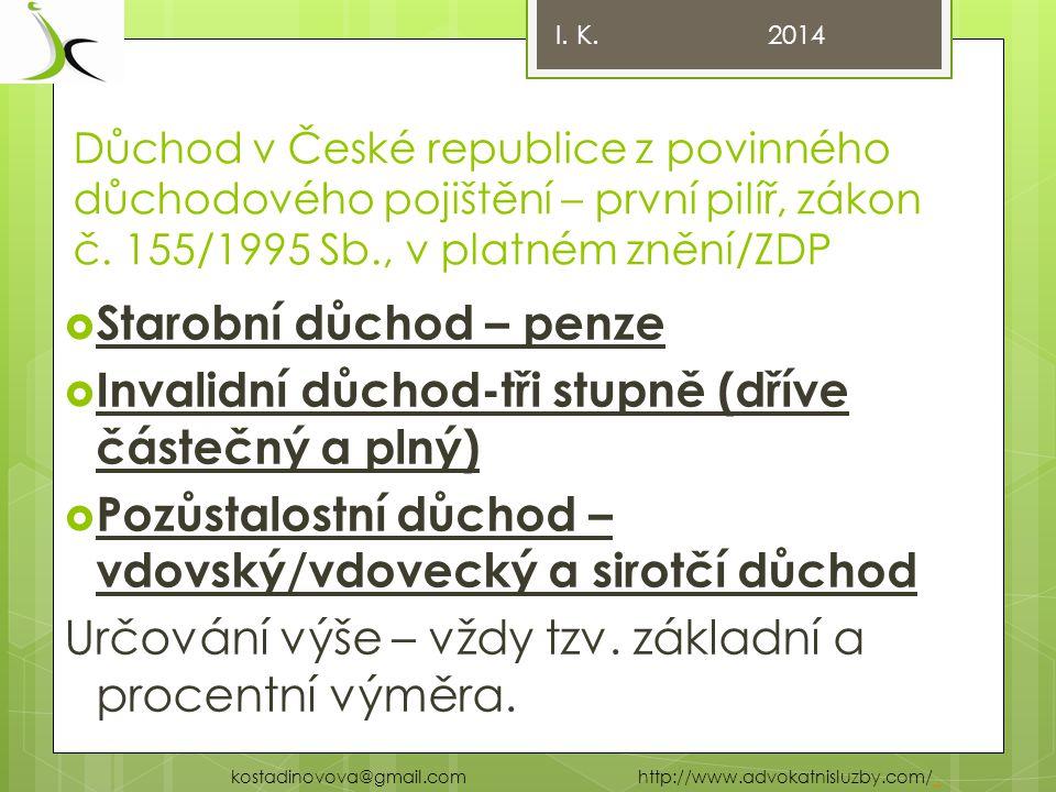 Důchod v České republice z povinného důchodového pojištění – první pilíř, zákon č.