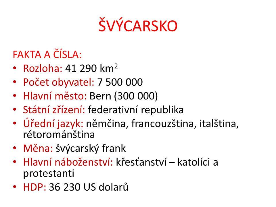ŠVÝCARSKO FAKTA A ČÍSLA: Rozloha: 41 290 km 2 Počet obyvatel: 7 500 000 Hlavní město: Bern (300 000) Státní zřízení: federativní republika Úřední jazy
