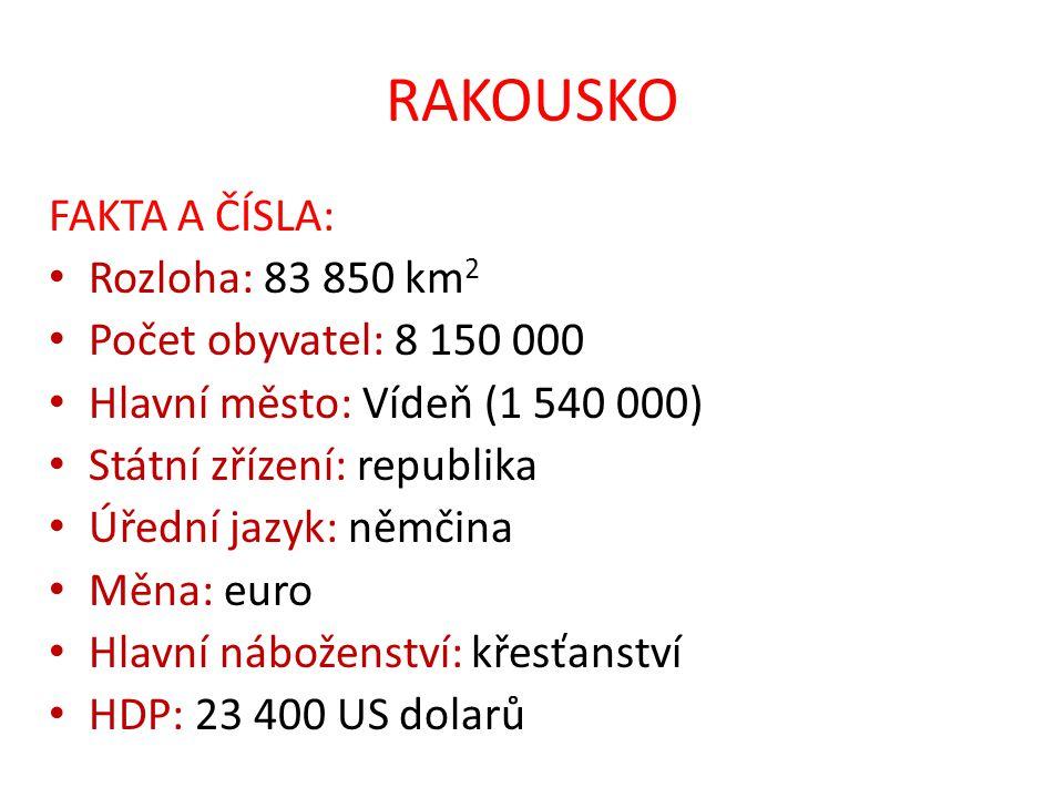 RAKOUSKO FAKTA A ČÍSLA: Rozloha: 83 850 km 2 Počet obyvatel: 8 150 000 Hlavní město: Vídeň (1 540 000) Státní zřízení: republika Úřední jazyk: němčina