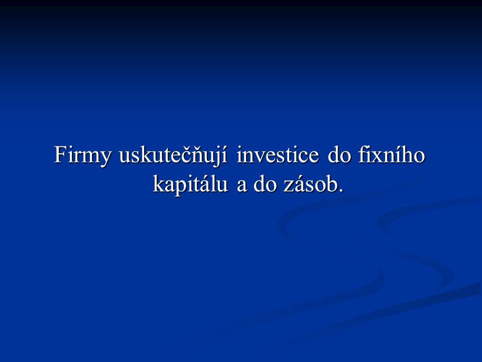 Firmy uskutečňují investice do fixního kapitálu a do zásob.