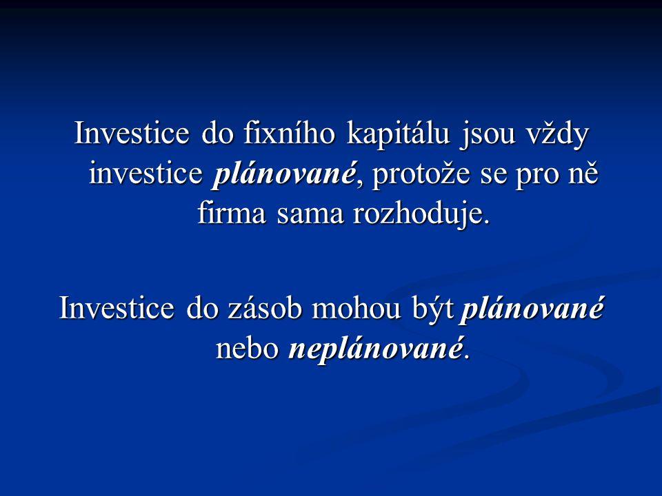 Investice do fixního kapitálu jsou vždy investice plánované, protože se pro ně firma sama rozhoduje. Investice do zásob mohou být plánované nebo neplá