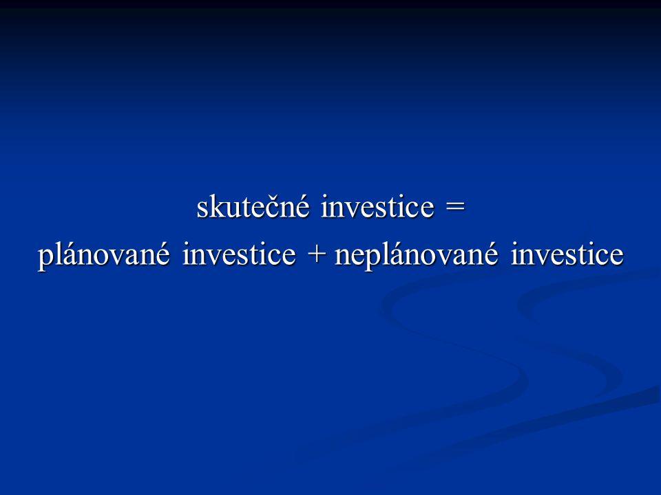 skutečné investice = plánované investice + neplánované investice