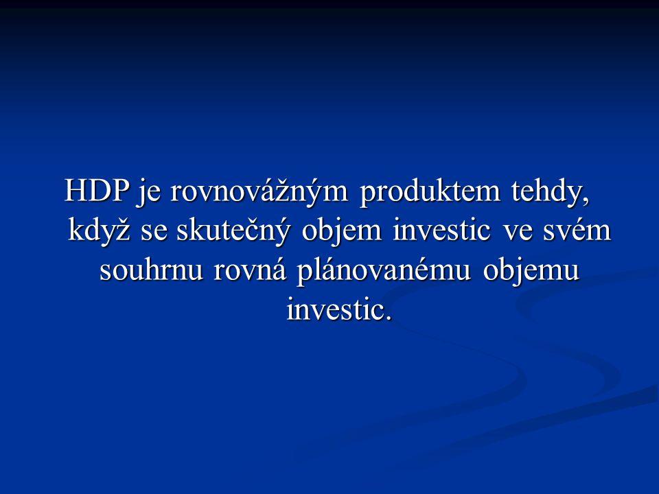 HDP je rovnovážným produktem tehdy, když se skutečný objem investic ve svém souhrnu rovná plánovanému objemu investic.
