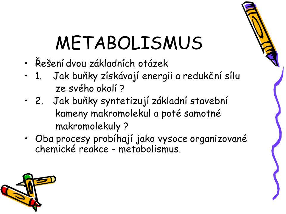 METABOLISMUS Řešení dvou základních otázek 1.Jak buňky získávají energii a redukční sílu ze svého okolí ? 2.Jak buňky syntetizují základní stavební ka