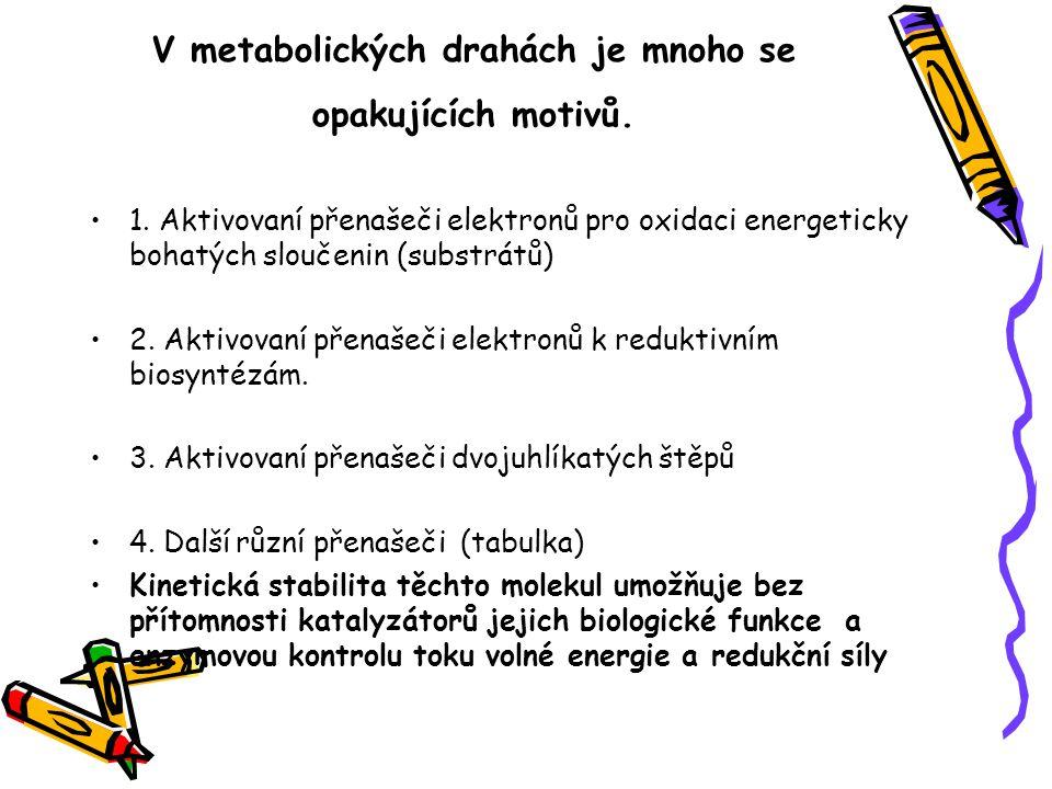 V metabolických drahách je mnoho se opakujících motivů. 1. Aktivovaní přenašeči elektronů pro oxidaci energeticky bohatých sloučenin (substrátů) 2. Ak
