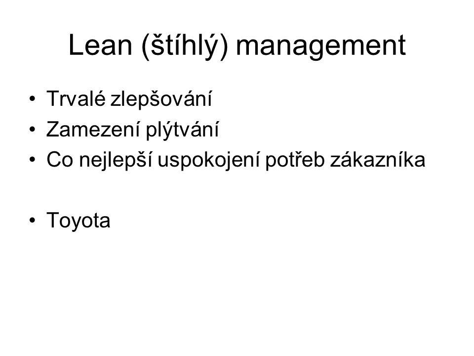 Lean (štíhlý) management Trvalé zlepšování Zamezení plýtvání Co nejlepší uspokojení potřeb zákazníka Toyota