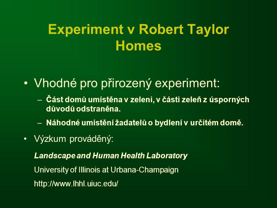 Experiment v Robert Taylor Homes Vhodné pro přirozený experiment: –Část domů umístěna v zeleni, v části zeleň z úsporných důvodů odstraněna.