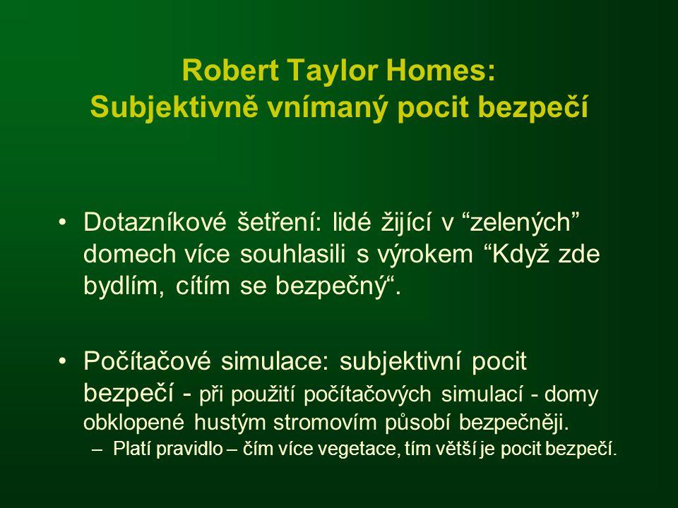 Robert Taylor Homes: Subjektivně vnímaný pocit bezpečí Dotazníkové šetření: lidé žijící v zelených domech více souhlasili s výrokem Když zde bydlím, cítím se bezpečný .