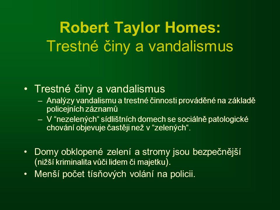 Robert Taylor Homes: Trestné činy a vandalismus Trestné činy a vandalismus –Analýzy vandalismu a trestné činnosti prováděné na základě policejních záznamů –V nezelených sídlištních domech se sociálně patologické chování objevuje častěji než v zelených .