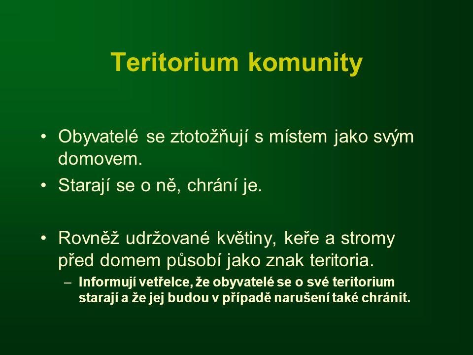 Teritorium komunity Obyvatelé se ztotožňují s místem jako svým domovem.
