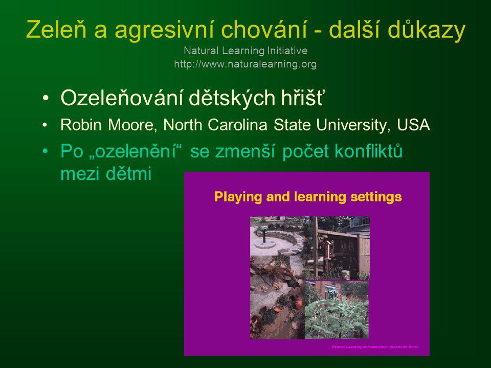 """Zeleň a agresivní chování - další důkazy Natural Learning Initiative http://www.naturalearning.org Ozeleňování dětských hřišť Robin Moore, North Carolina State University, USA Po """"ozelenění se zmenší počet konfliktů mezi dětmi"""