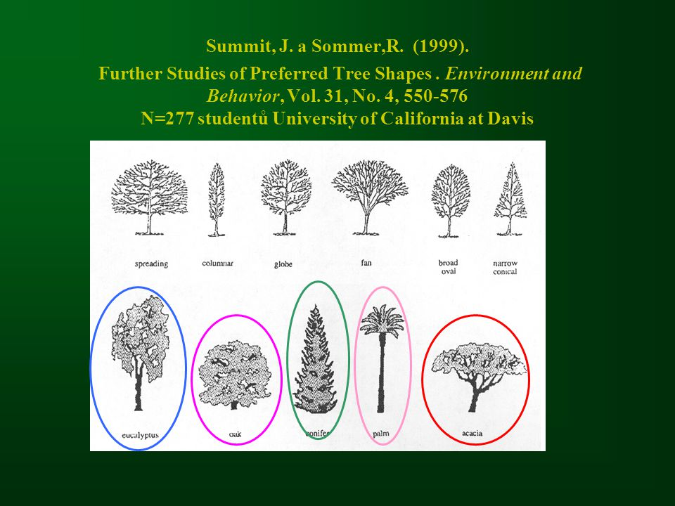 Summit, J. a Sommer,R. (1999). Further Studies of Preferred Tree Shapes. Environment and Behavior, Vol. 31, No. 4, 550-576 N=277 studentů University o