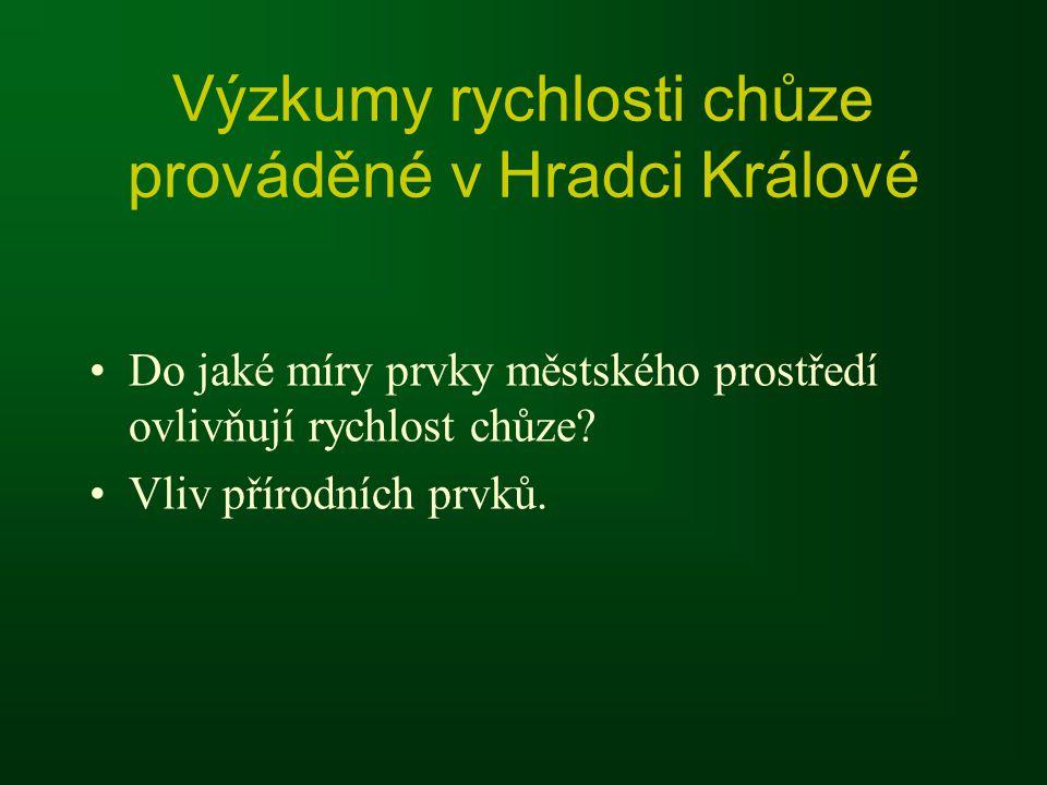 Výzkumy rychlosti chůze prováděné v Hradci Králové Do jaké míry prvky městského prostředí ovlivňují rychlost chůze.