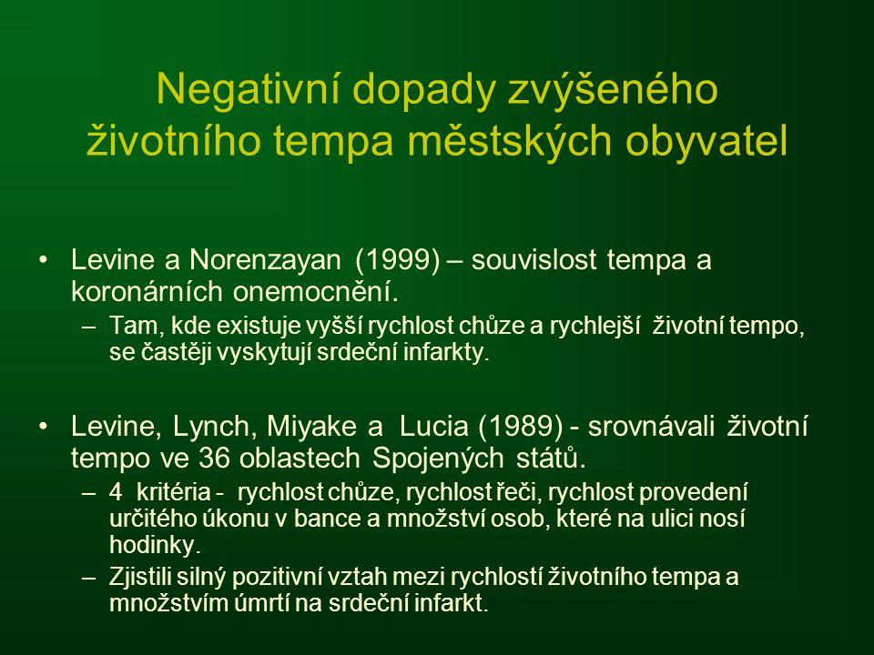 Negativní dopady zvýšeného životního tempa městských obyvatel Levine a Norenzayan (1999) – souvislost tempa a koronárních onemocnění.
