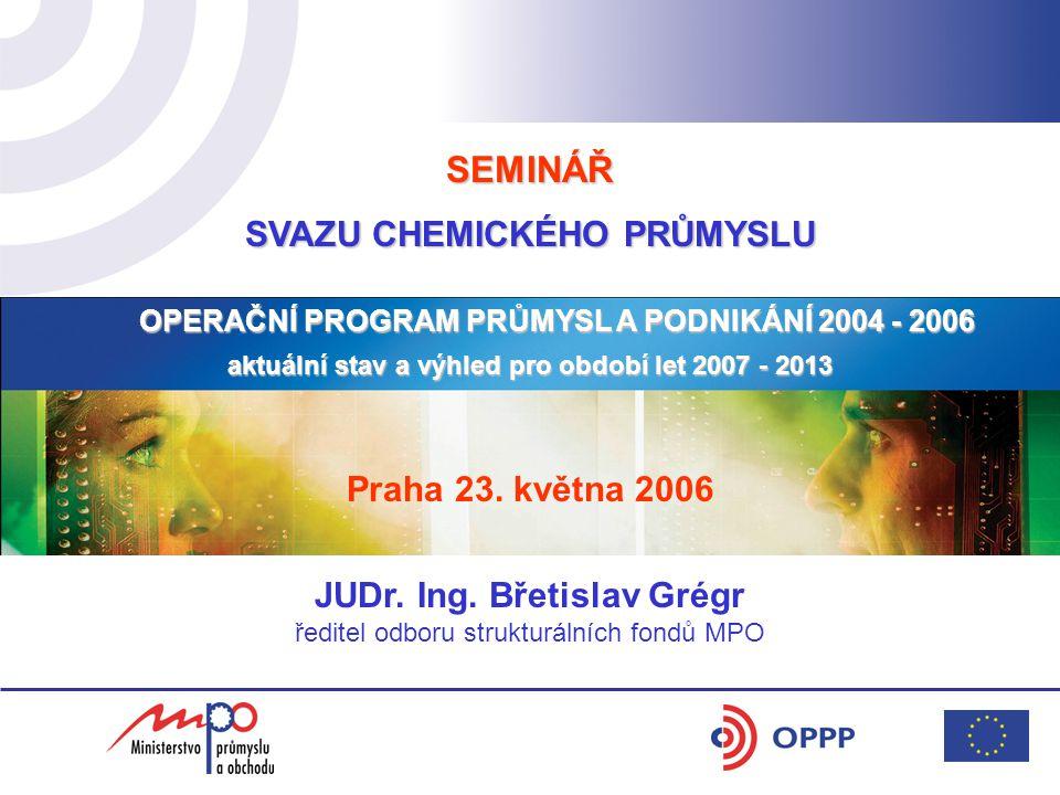 SEMINÁŘ SVAZU CHEMICKÉHO PRŮMYSLU OPERAČNÍ PROGRAM PRŮMYSL A PODNIKÁNÍ 2004 - 2006 aktuální stav a výhled pro období let 2007 - 2013 Praha 23.