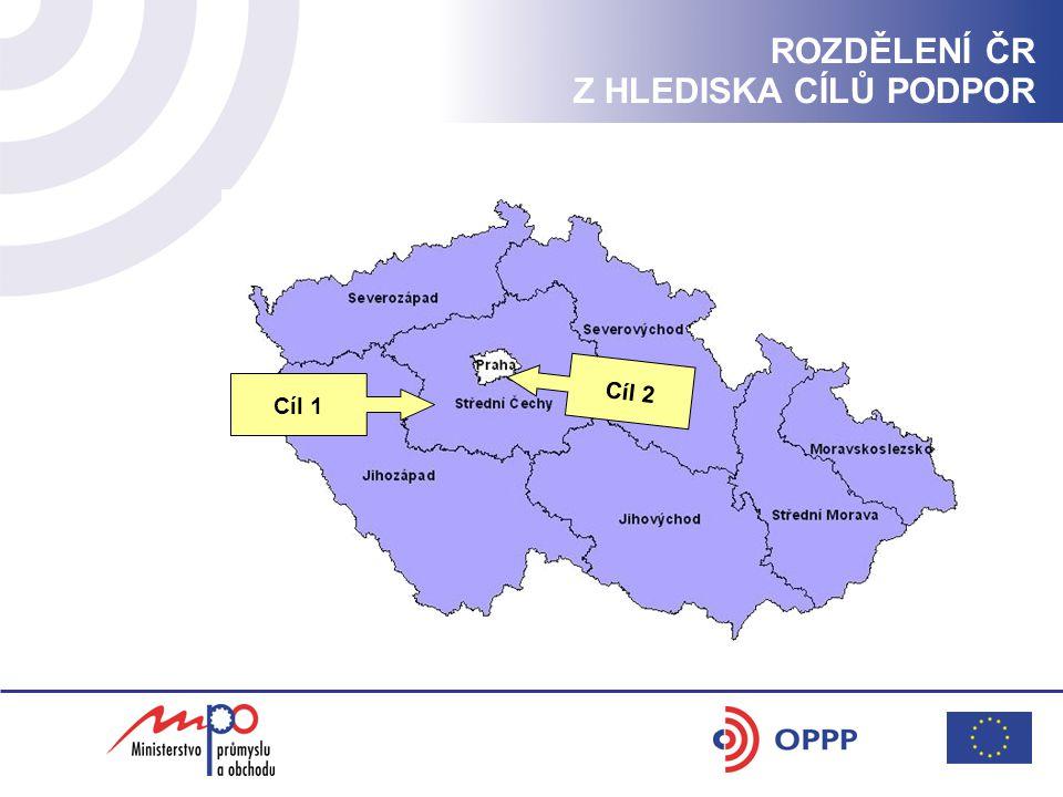 ROZDĚLENÍ ČR Z HLEDISKA CÍLŮ PODPOR Cíl 2 Cíl 1