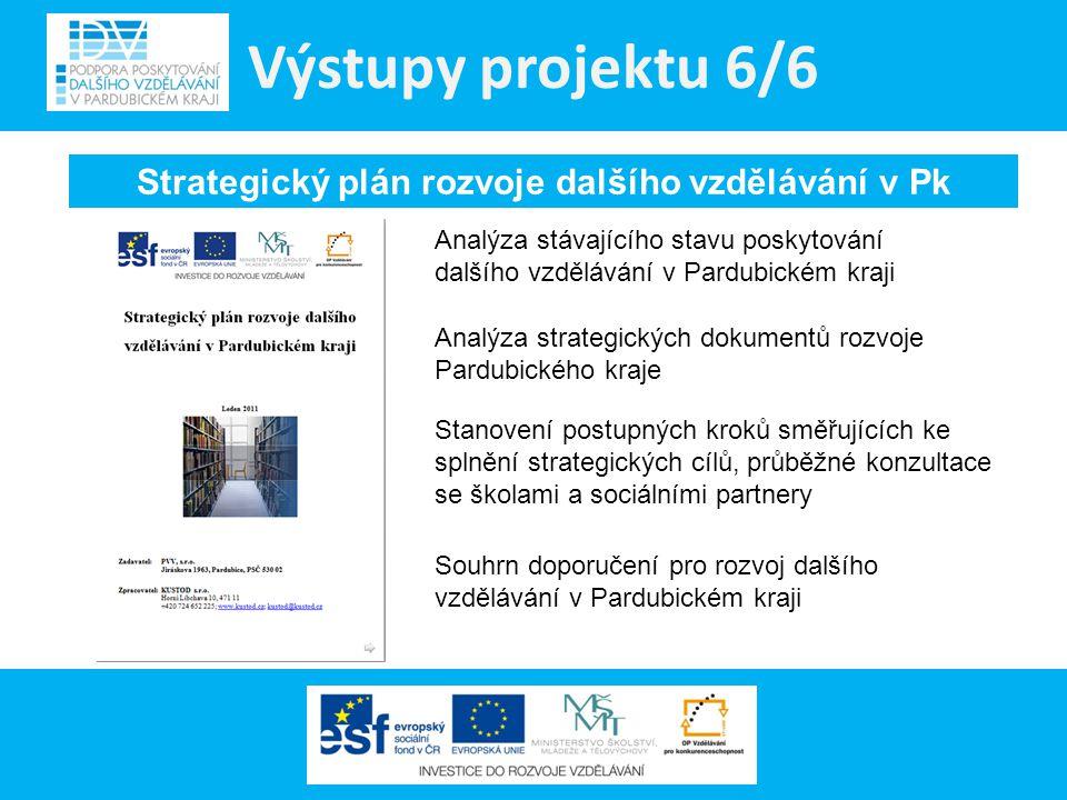 Výstupy projektu 6/6 Strategický plán rozvoje dalšího vzdělávání v Pk Analýza stávajícího stavu poskytování dalšího vzdělávání v Pardubickém kraji Ana