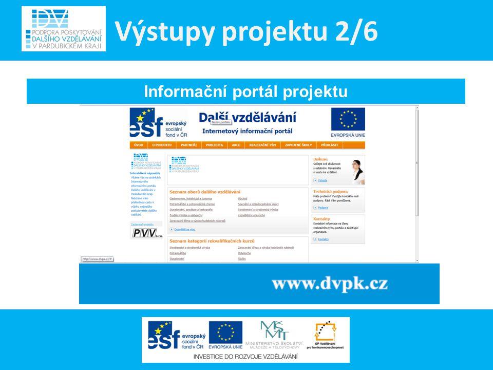 Výstupy projektu 3/6 Informační materiály projektu 3 edice informačních materiálů projektu: = Katalog DV - ucelený přehled nabídky DV v Pardubickém kraji = Informační letáky projektu