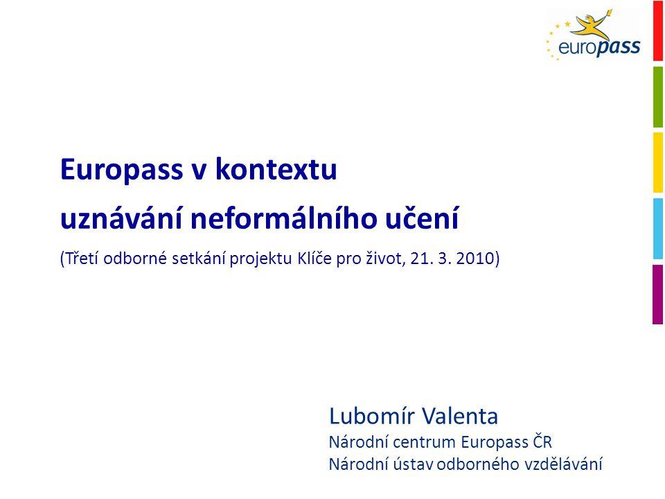 Lubomír Valenta Národní centrum Europass ČR Národní ústav odborného vzdělávání Europass v kontextu uznávání neformálního učení (Třetí odborné setkání projektu Klíče pro život, 21.