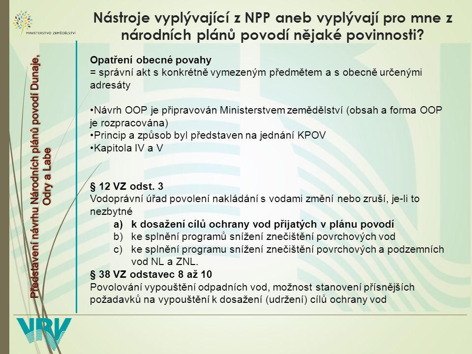 Nástroje vyplývající z NPP aneb vyplývají pro mne z národních plánů povodí nějaké povinnosti.