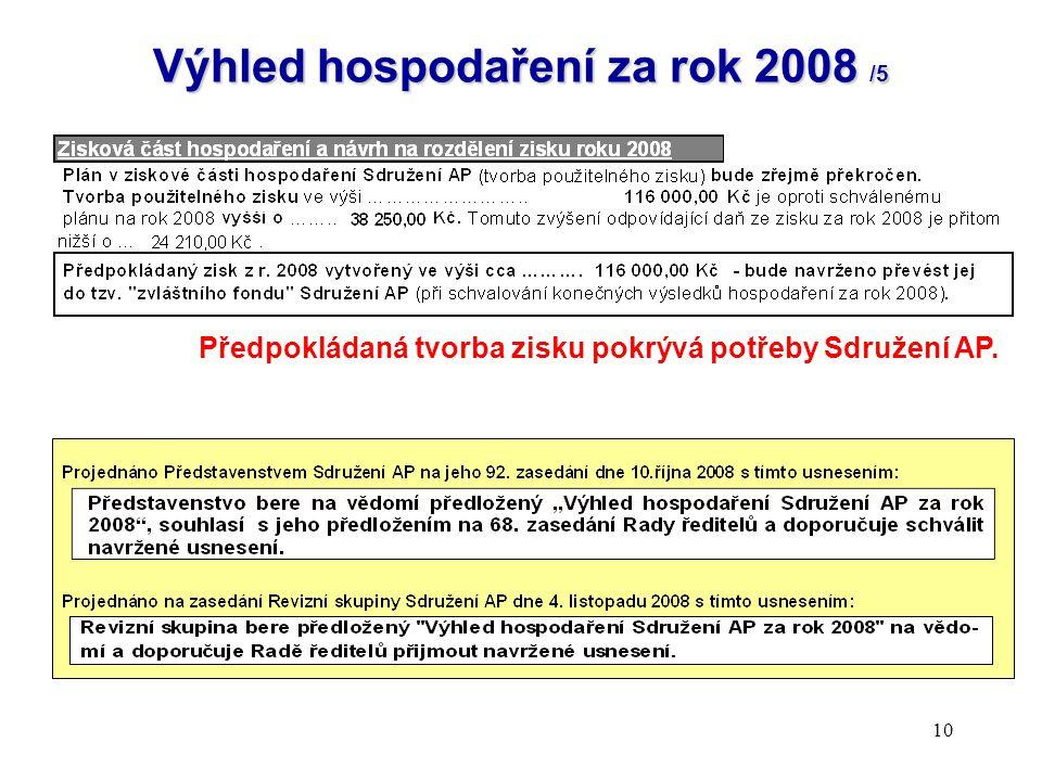 10 Výhled hospodaření za rok 2008 /5 Předpokládaná tvorba zisku pokrývá potřeby Sdružení AP.