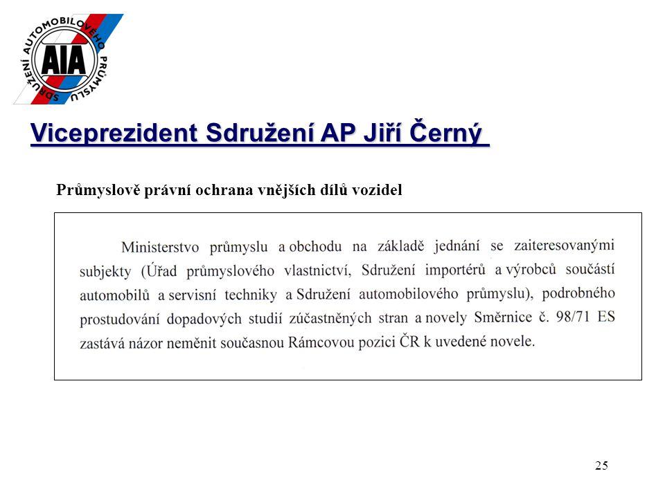25 Viceprezident Sdružení AP Jiří Černý Průmyslově právní ochrana vnějších dílů vozidel