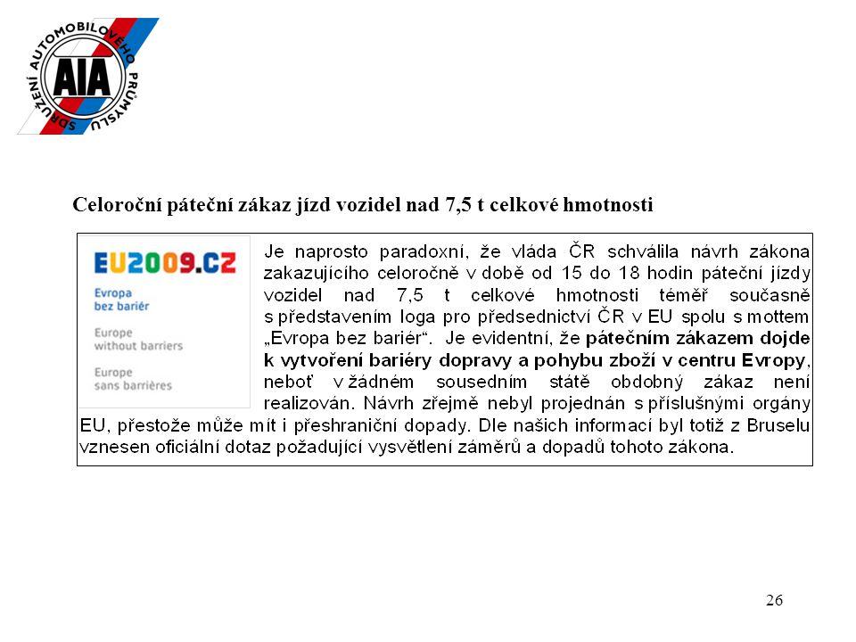 26 Celoroční páteční zákaz jízd vozidel nad 7,5 t celkové hmotnosti