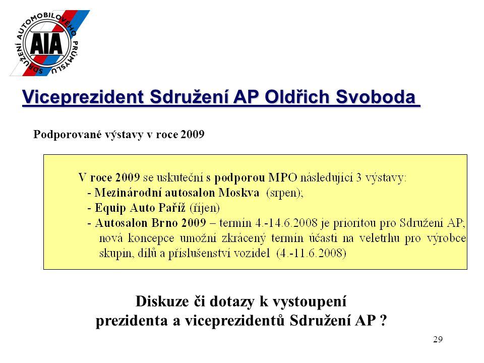 29 Viceprezident Sdružení AP Oldřich Svoboda Podporované výstavy v roce 2009 Diskuze či dotazy k vystoupení prezidenta a viceprezidentů Sdružení AP
